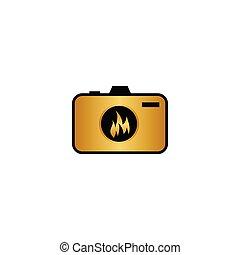 金, 火, カメラ, 抽象的, レンズ, ベクトル, デザイン, テンプレート, ロゴ, 炎, 写真撮影