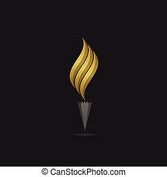 金, 炎, テンプレート, ロゴ
