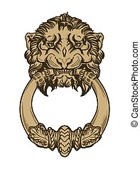 金, 獅子, 頭, 門, knocker., 手, 畫, 矢量, 插圖