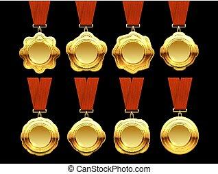 金, 獎章, 矢量, 彙整, 上, 紅色, 帶子