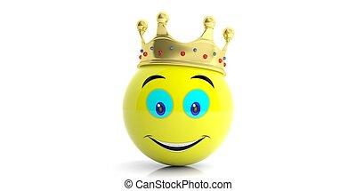 金, -, 王冠, イラスト, バックグラウンド。, 黄色, 白, emoji, 3d
