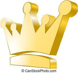 金, -, 王冠, 3d, アイコン