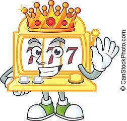 金, 王, 定型, マスコット, スロット, デザイン, 機械, 漫画, 目がくらむほどである