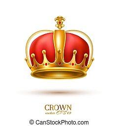 金, 現実的, 王冠, 3d, ベクトル