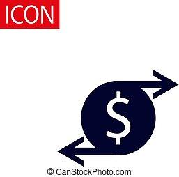 金, 現実的, 隔離された, イラスト, バックグラウンド。, ベクトル, icon., コイン, 白, 3d