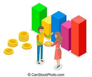 金, 男の女性, 手掛かり, グループ, 現金, 和解, 購入, コイン。, を除けば, お金。, 人々