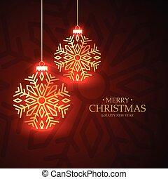 金, 白熱, クリスマス, ボール, グリーティングカード, 上に, 赤い背景