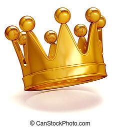 金, 白, 王冠, 背景, 3d