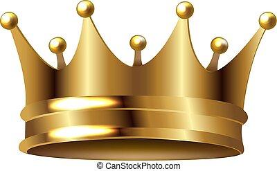 金, 白, 王冠, 隔離された, 背景