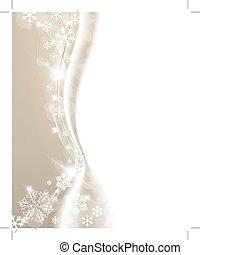 金, 白, 雪片, 背景, クリスマス
