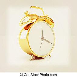 金, 目覚し 時計, ., 3d, illustration., 型, style.