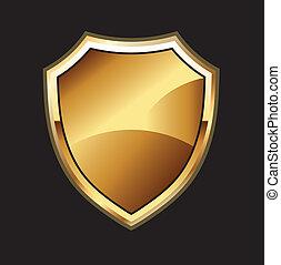 金, 盾, 在, 黑色的背景