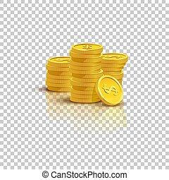 金, 硬貨の積み重ね, ∥で∥, 鏡, 反射, 隔離された, 上に, 透明, バックグラウンド。, ベクトル, illustration.