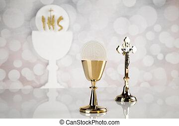 金, 神聖, 聖杯, 隔離された, 聖餐, 白, 構成