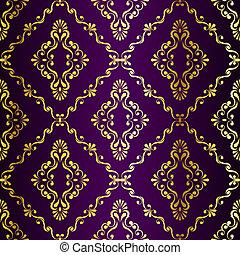 金, 紫色, パターン, seamless, swirly, indian