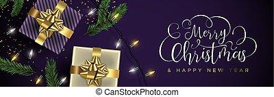 金, 紫色, 贈り物, 年, 新しい, 旗, クリスマス