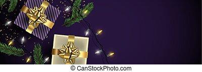 金, 紫色, 贈り物, 背景, 旗, クリスマス