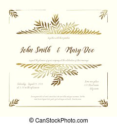 金, 結婚式, カード, テンプレート, 招待