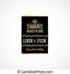 金, 結婚式, カード, 招待