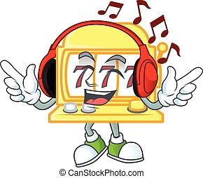 金, 聞くこと, ヘッドホン, スロット, 特徴, デザイン, 機械, 音楽, 漫画