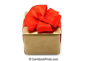 金, 背景, 弓, 箱子, 紅色, 禮物, 白色