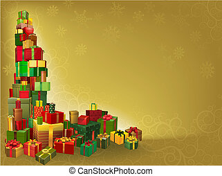 金, 背景, 贈り物, クリスマス