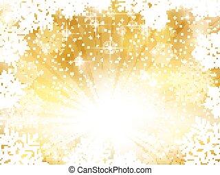 金 背景, 雪片, 光っていること, クリスマス