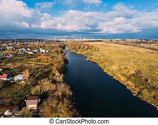 金, 航空写真, 町, 橋, 日光, 川, 光景, 小さい, ロシア, 赤