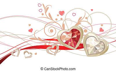 金, 花の 装飾, 心, 宝石, 2