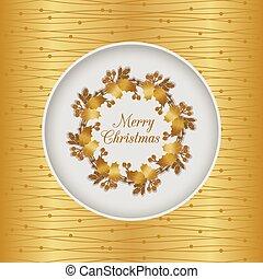 金, 花冠, seamless, holly, 圣誕節卡片