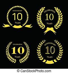 金, 花輪, 月桂樹, 10, 記念日, セット, 年
