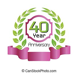 金, 花輪, 記念日, 40, 月桂樹
