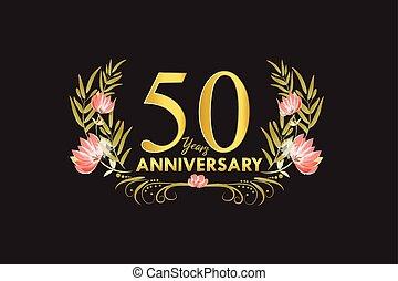 金, 花輪, 記念日, 50, 水彩画, ベクトル, 年
