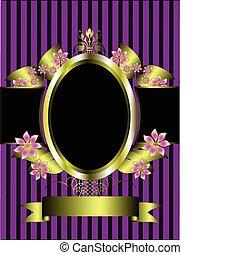 金, 花, フレーム, 上に, a, クラシック, 紫色, しまのある背景