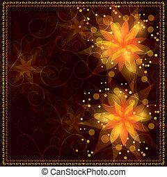 金, 花, 背景, 装飾, 明るい