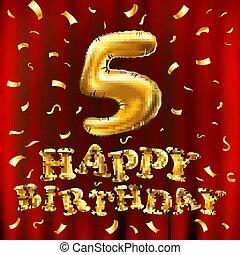 金, 芸術, 金, glitters., 年, デザイン, あなたの, カード, 第5, 5, カーテン, 風船, 赤, 3d, イラスト, birthday, 5, パーティー, 紙ふぶき, 祝福, 挨拶, ベクトル, 招待, 幸せ
