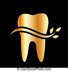 金, 葉, 歯