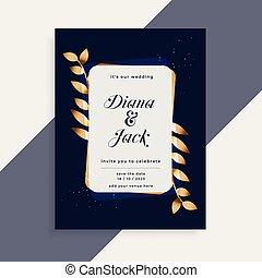 金, 葉, 結婚式の招待, フレーム, カード