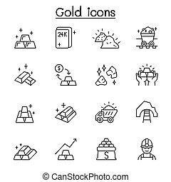 金, 薄くなりなさい, スタイル, 線, アイコン, セット