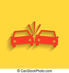 金, 衝突される, 自動車, 印。, バックグラウンド。, vector., 影, 柔らかい, 赤, アイコン