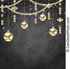 金, 装飾品, ボール, 黒い背景, クリスマス
