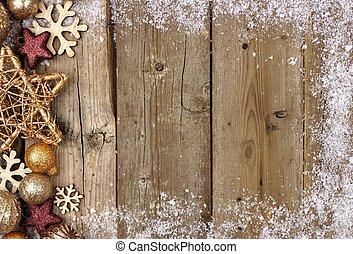 金, 装飾, クリスマス, 無作法, 木, ボーダー, 側