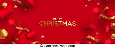 金, 装飾, 陽気, 旗, クリスマス, 赤, 3d