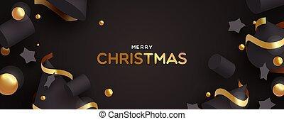 金, 装飾, 黒, 旗, クリスマス, 3d