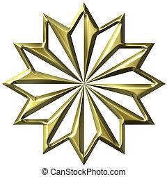 金, 装飾, 3d