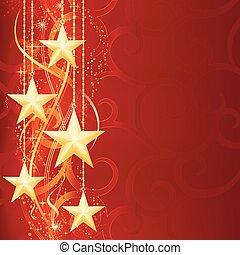 金, 要素, グランジ, お祝い, 雪, クリスマス, 星, 薄片, 背景, occasions., 光沢がある, あなたの