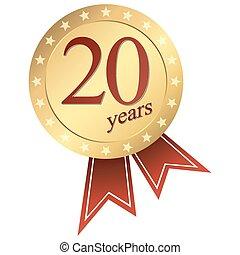 金, 記念祭, ボタン, -, 20年