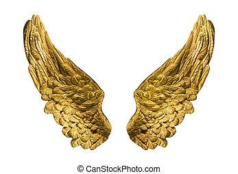 金, 象徴的, 隔離された, 翼, onwhite., 構成