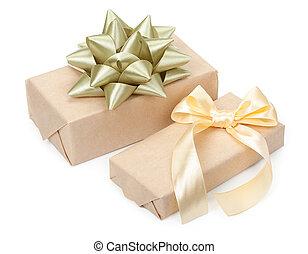金, 贈り物, 金ライト, 隔離された, 弓, プレゼント, 背景, 箱, ペーパー, 対, ベージュ, 結び目, 包まれた, 白, クラフト, リボン
