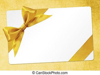 金, 贈り物, 隔離された, 黄色, 弓, リボン, 背景, カード
